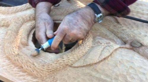 Wood Carving with Metal Grinding Drill Bit